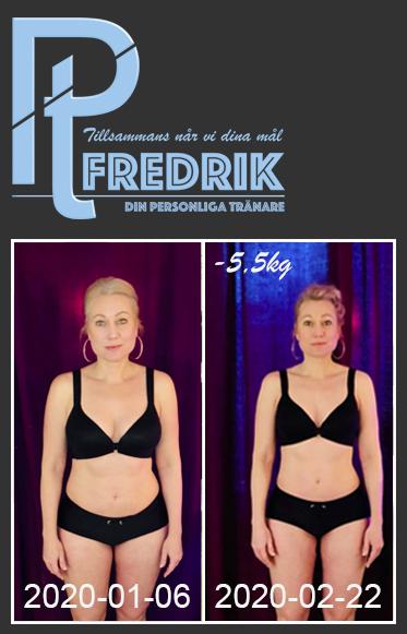 Jessica har på ca 6 veckor gått ner 5,5kg med PT Fredriks kostschema avancerat.